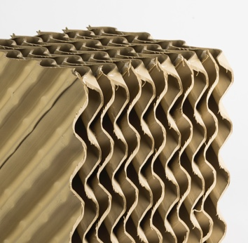 Kono Kogs often uses geometrically arranged corrugated sheets for ceramic media structure packing.